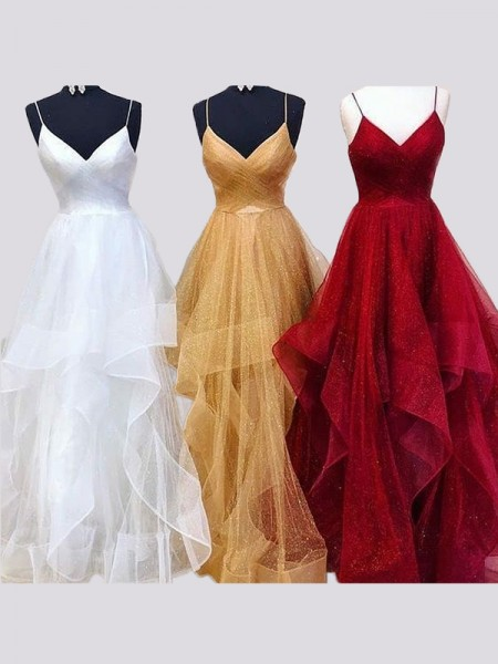 A-Line/Princess Sleeveless Spaghetti Straps Long Tulle Ruffles Dress