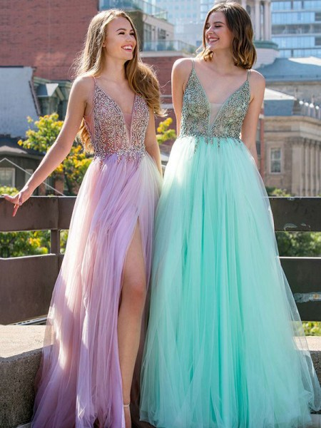 A-Line/Princess Sleeveless V-neck Long Beading Tulle Dress