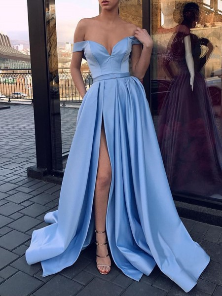 A-Line/Princess Sleeveless Off-the-Shoulder Sweep/Brush Train Ruffles Satin Dress
