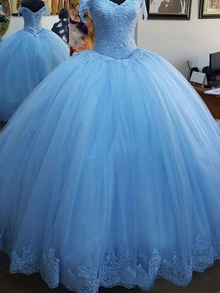 Ball Gown Sleeveless Off-the-Shoulder Sweep/Brush Train Lace Tulle Dress