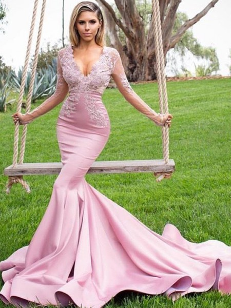 Trumpet/Mermaid Long Sleeves V-neck Sweep/Brush Train Satin Dress