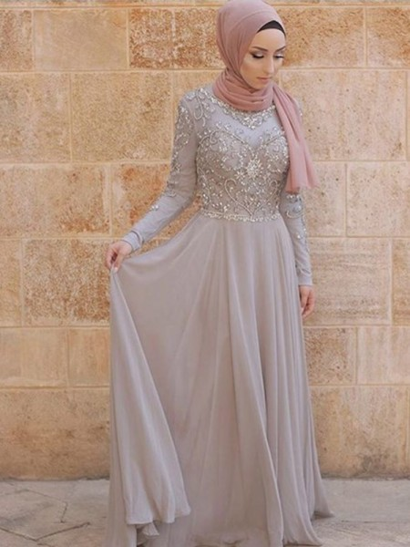 A-Line/Princess Long Sleeves Sweep/Brush Train Crystal Tulle Muslim Dress