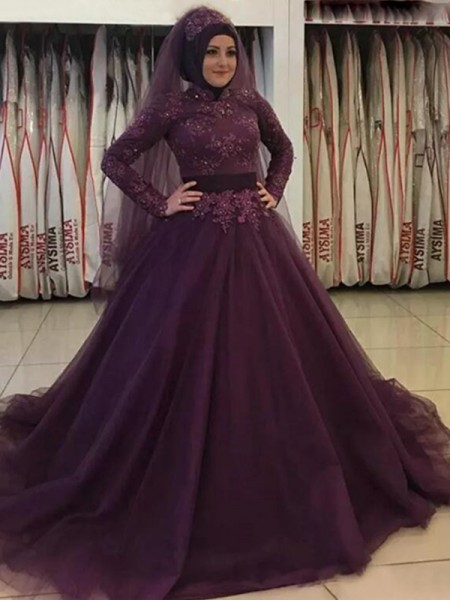 Ball Gown Long Sleeves High Neck Sweep/Brush Train Tulle Muslim Dress