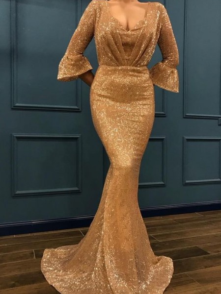 Trumpet/Mermaid 3/4 Sleeves V-neck Sweep/Brush Train Ruffles Sequins Dress