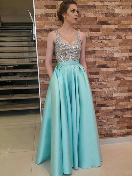 A-Line/Princess Sleeveless V-neck Long Beading Satin Dress