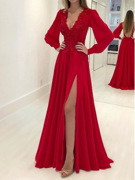 A-Line/Princess Long Sleeves V-neck Sweep/Brush Train Chiffon Dress