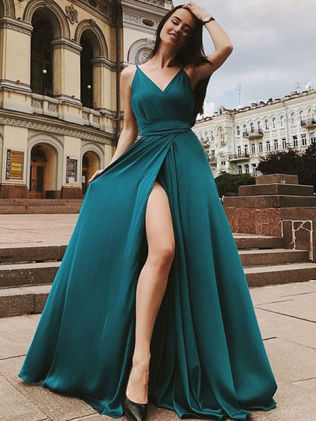A-Line/Princess Sleeveless Straps Sweep/Brush Train Ruffles Satin Chiffon Dress