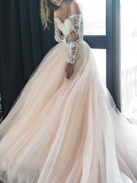 A-Line/Princess Off-the-Shoulder Long Sleeves Court Train Applique Tulle Wedding Dress