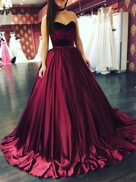 Ball Gown Sweetheart Sleeveless Ruffles Satin Sweep/Brush Train Dress