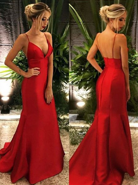 Trumpet/Mermaid Spaghetti Straps Sleeveless Ruffles Satin Sweep/Brush Train Dress
