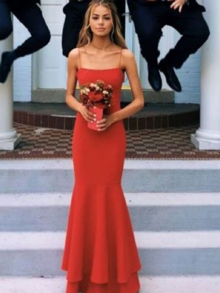 Sheath/Column Spaghetti Straps Sleeveless Floor-Length Layers Satin Dress