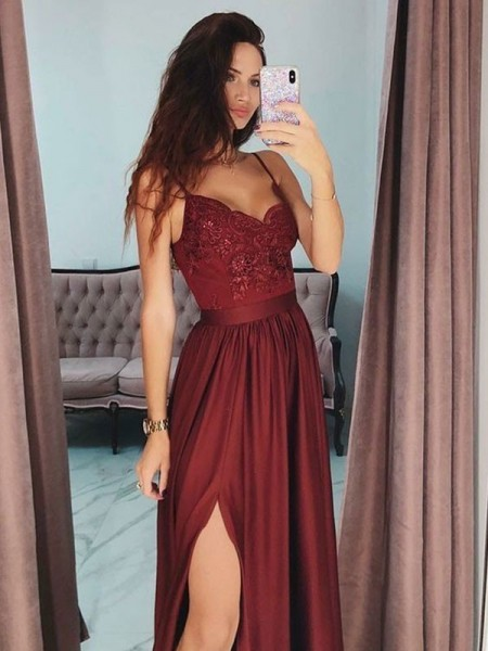 A-Line/Princess Sleeveless V-neck Floor-Length Lace Satin Dress