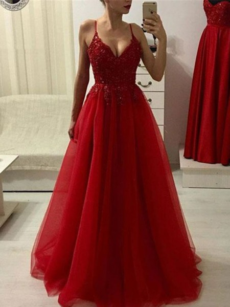 A-Line/Princess Spaghetti Straps Sleeveless Applique Tulle Floor-Length Dress