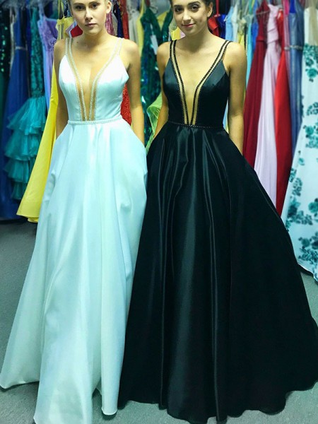 A-Line/Princess Sleeveless V-neck Ruffles Satin Floor-Length Dress