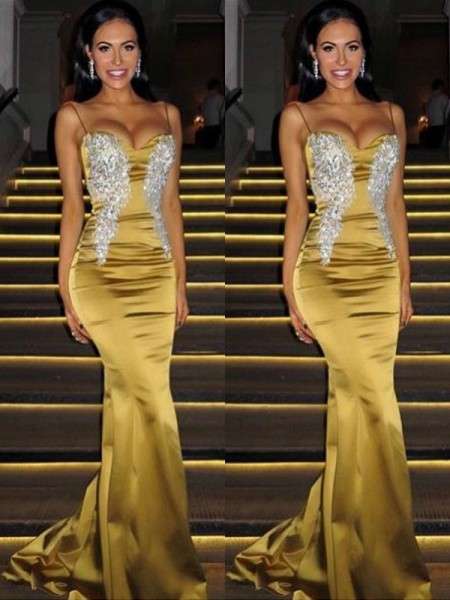Trumpet/Mermaid Spaghetti Straps Sleeveless Beading Satin Sweep/Brush Train Dress