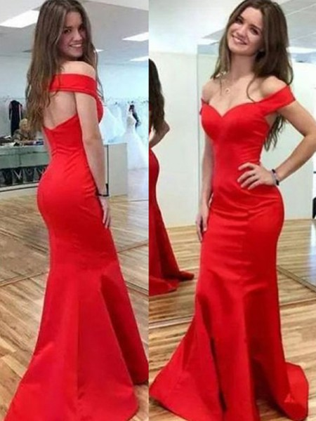 Trumpet/Mermaid Sleeveless Off-the-Shoulder Floor-Length Satin Dress