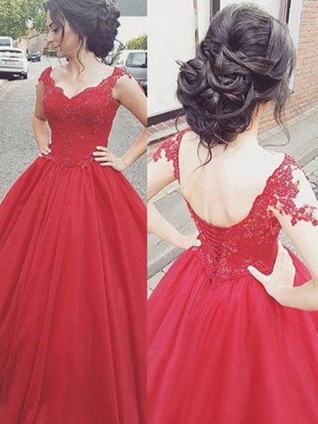 Ball Gown Sleeveless V-neck Applique Satin Floor-Length Dress