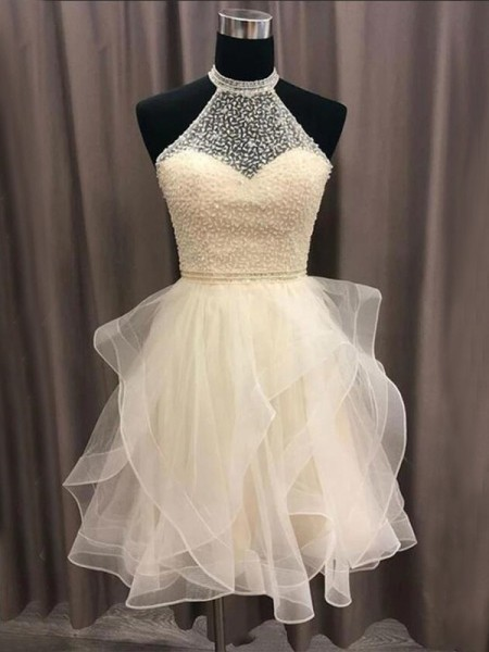 A-Line/Princess Organza Beading Halter Sleeveless Short/Mini Dress