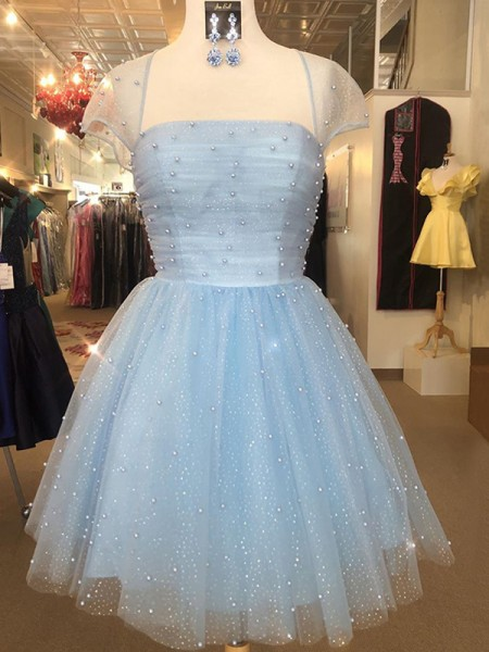 A-Line/Princess Tulle Strapless Short Sleeves Beading Short/Mini Dress