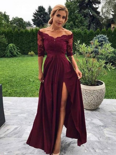 A-Line/Princess Satin Applique Off-the-Shoulder 1/2 Sleeves Long Dress