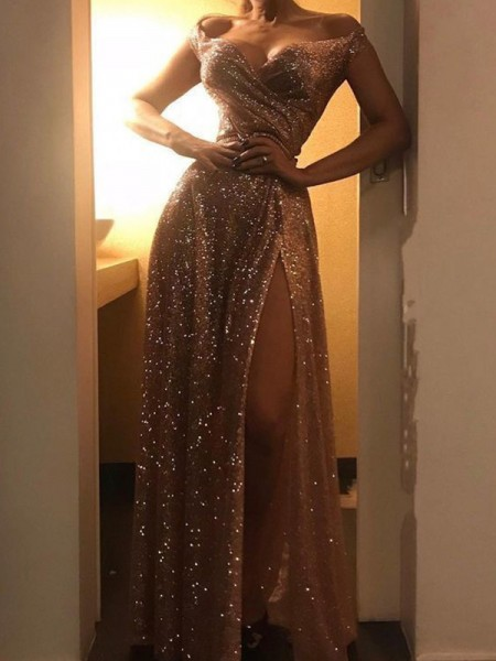 A-Line/Princess Sequins Ruched Off-the-Shoulder Sleeveless Long Dress