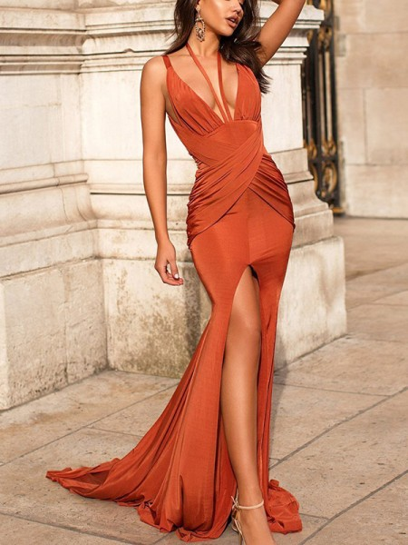 Trumpet/Mermaid Ruched Sleeveless Satin V-neck Sweep/Brush Train Dress