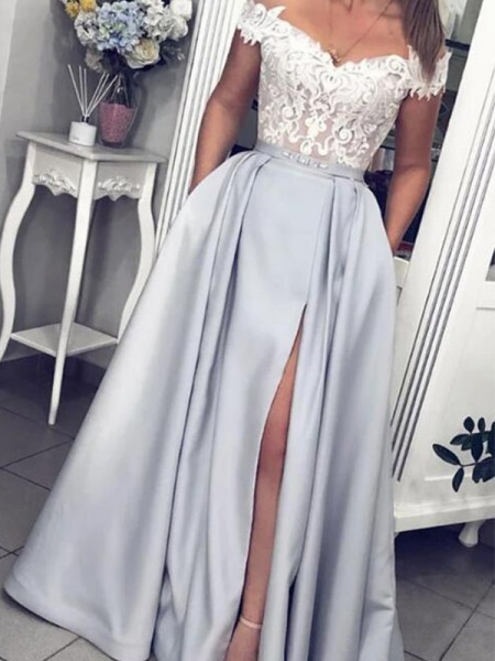 A-Line/Princess Satin Lace Sleeveless Off-the-Shoulder Long Dress