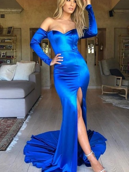 Trumpet/Mermaid Ruched Satin V-neck Long Sleeves Court Train Dress