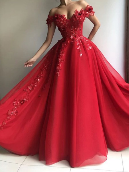 A-Line/Princess Chiffon Off-the-Shoulder Sleeveless Applique Floor-Length Dress
