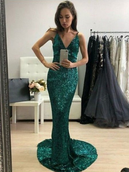 Trumpet/Mermaid Sequins V-neck Ruffles Sweep/Brush Train Sleeveless Dress