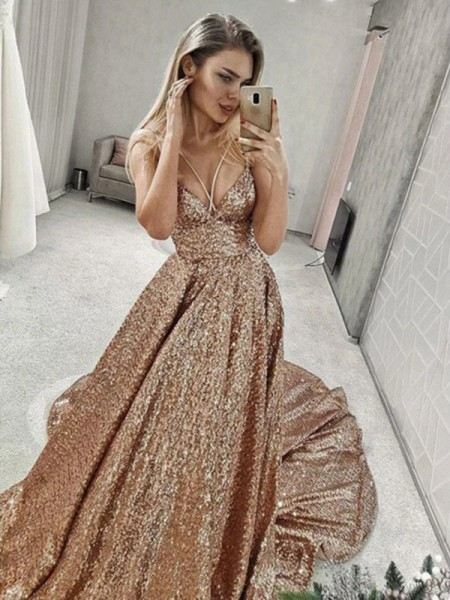 A-Line/Princess Sequins Spaghetti Straps Ruffles Sleeveless Court Train Dress