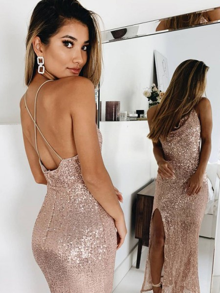 Trumpet/Mermaid Ruched Spaghetti Straps Sleeveless Sequins Ankle-Length Dress