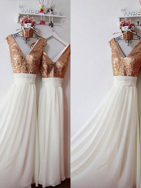 A-Line/Princess Chiffon V-neck Floor-Length Sequin Bridesmaid Dresses