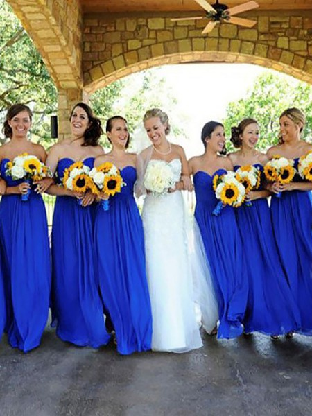 A-Line/Princess Floor-Length Sweetheart Chiffon Bridesmaid Dresses