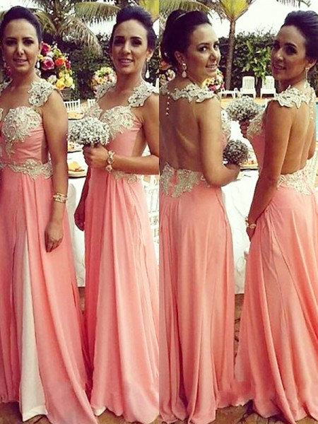 A-Line/Princess Straps Chiffon Floor-Length Applique Bridesmaid Dresses