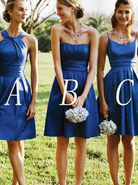 A-Line/Princess Satin Short/Mini Bridesmaid Dresses