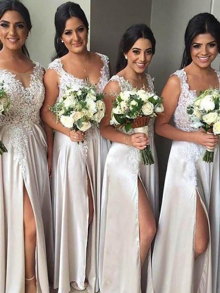 Sheath/Column V-neck Silk like Satin Floor-Length Bridesmaid Dresses