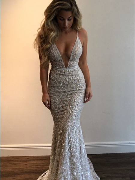 Trumpet/Mermaid V-neck Sleeveless Lace Floor-Length Dresses