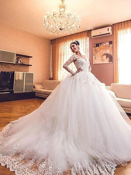 Ball Gown Tulle V-neck Court Train Wedding Dresses