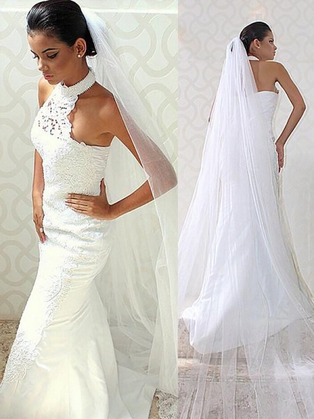 Trumpet/Mermaid Halter Sweep/Brush Train Satin Wedding Dresses