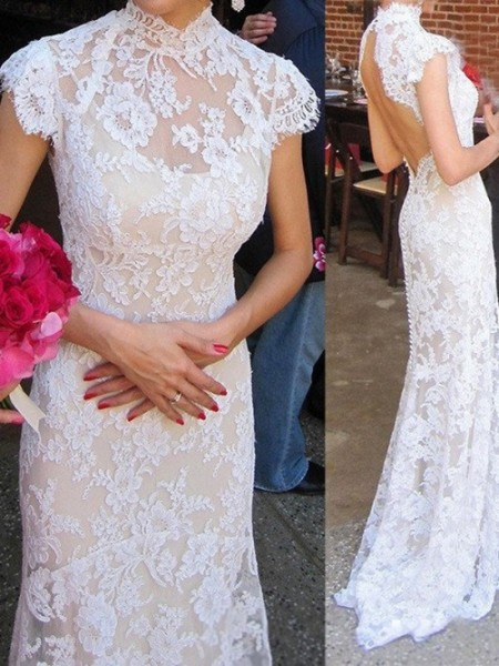 Sheath/Column High Neck Sweep/Brush Train Lace Wedding Dresses