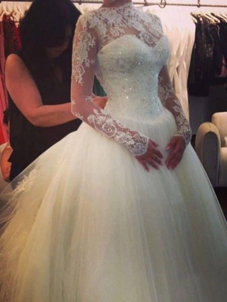 A-line/Princess High Neck Court Train Organza Wedding Dresses