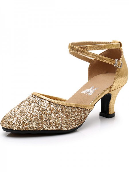 Ladies's Sparkling Glitter Cone Heel Closed Toe Sandals