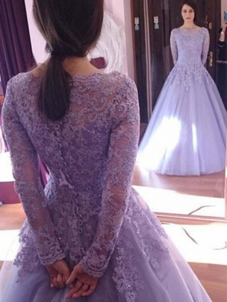 Floor-Length Ball Gown Jewel Long Sleeves Dresses with Tulle