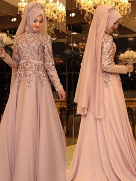 A-Line/Princess High Neck Long Sleeves Floor-Length Beading Dresses with Chiffon