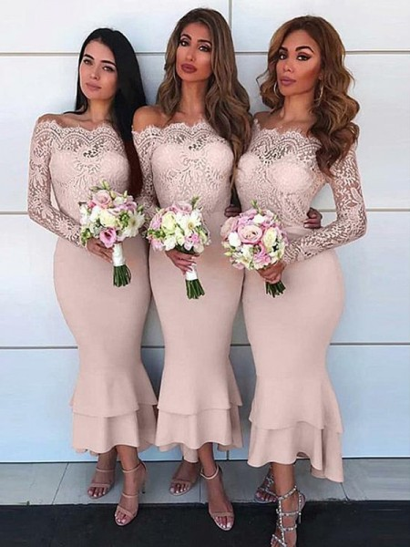 Ankle-Length Sheath/Column Off-the-Shoulder Long Sleeves Bridesmaid Dresses with Jersey