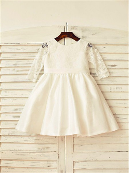 A-line/Princess Jewel Tea-Length Satin Flower Girl Dress with Lace