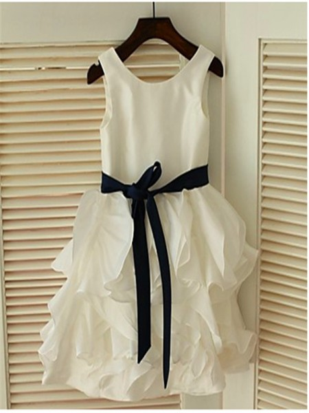 A-line/Princess Scoop Bowknot Tea-Length Chiffon Flower Girl Dress