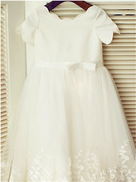 A-line/Princess Scoop Short Sleeves Floor-Length Lace Flower Girl Dresses
