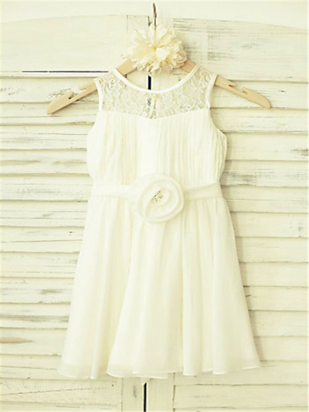 A-line/Princess Scoop Sleeveless Hand-made Flower Floor-Length Chiffon Flower Girl Dresses
